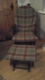 Glider chair & footstool /nursing nursery chair