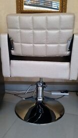 LAST ONE MUST GO TODAY: Luxury cubic chair, cream/black, height adjustable. Offers invited