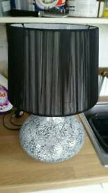 Silver and black lamp
