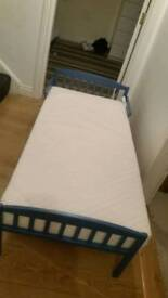 Toddlers size blue bed with n/new memory foam mattres see design £25 pick up only