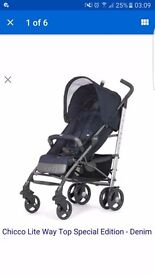 Chicco pushchair denim with foot muff RRP£220