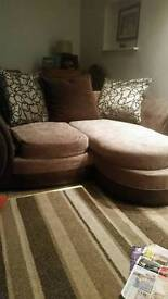 2 2 seater settees and storage/foot stool
