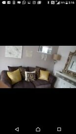 Dfs three seater sofa, large chair and pouffe with hidden storage
