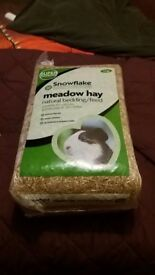 Hay, sawdust and guinea pig food