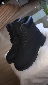 Never been worn ,Premium 6-inch Black Timberland boots 4.5 UK womens