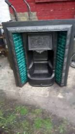 Victorian cast iron fire place tiled insert restored ex connection original