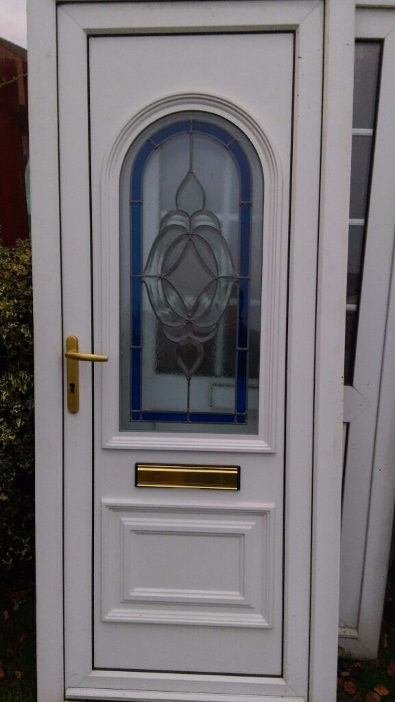 used upvc door 860w x 2070 h hinged on right from outside view.