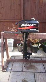 MERCURY 4HP 2 STROKE LONG SHAFT SAIL POWER OUTBOARD , BOAT DINGHY TENDER RIB SIB