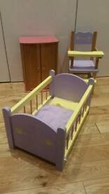 Build A Bear Wardrobe Wardrobe, High Chair and Cot