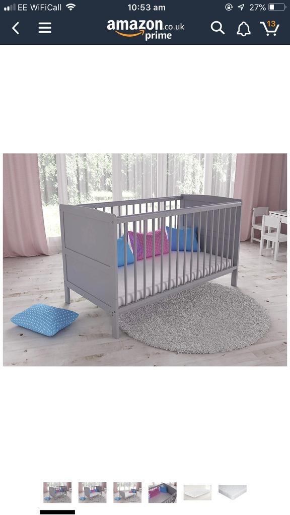 Cot Bed Wooden Toddler Baby Cot With Mattress Nursery Decoration & Furniture