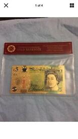 Aa01 24k gold plated £5 note with certificate