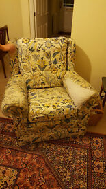 armchair floral pattern beechwood frame needs new covering
