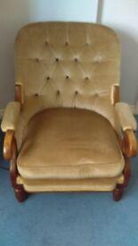 Parlour armchair . Beige in colour....Buttton back