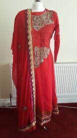 Red and gold embroidered anarkali dress 3 piece suit.
