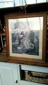 Antique religious picture with original wood frame