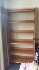 Wooden book shelf 209cm x 93cm approx.