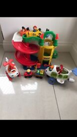 Fisher price garage, plane, helicopter