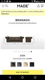3 seater Chesterfield Nutty Brown Sofa