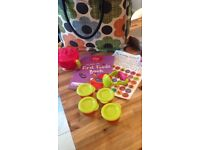 Ellas kitchen baby food book, stickers and Nuby set of weening accessories, never used