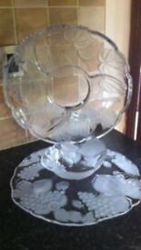 2 Large Chip 'N Dip Glass Platters - (Price Is For Both)