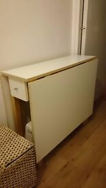 Gateleg table- good condition-- white-- MUST GO!