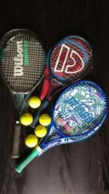 Selection of three tennis rackets + tennis balls