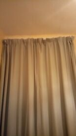 Pair of black out curtains in duck egg blue white lining
