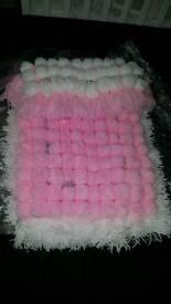 Pink & White Pom Pom Blanket.