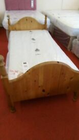 Pine single bed with new mattress