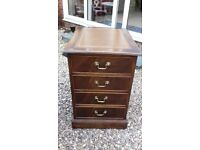 Vintage Antique Style Leather Top 2 Drawer Filing Cabinet