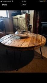 Upcycled Bespoke Cable Reel Coffee Table