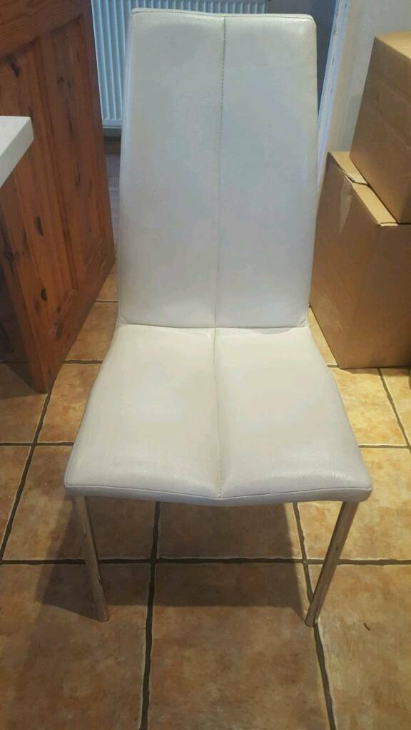 8 x Cream faux leather kitchen chairs