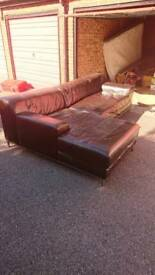 Large leather L shaped sofa. Dark Chocolate colour