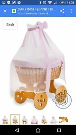 Large moses basket for a baby girl