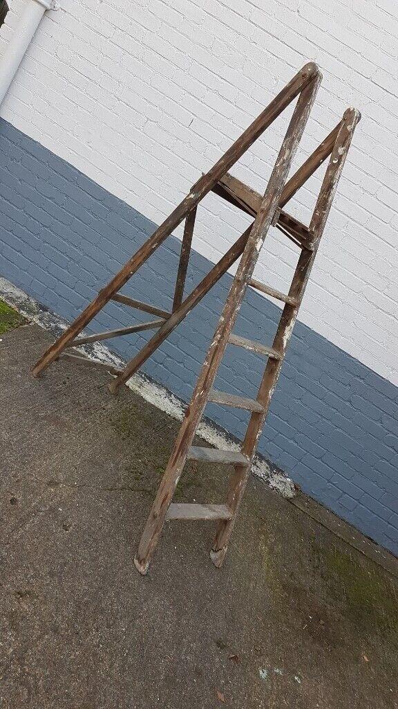 Vintage Quality Tall 5 Step Plus Platform Top Folding Ladders Rustic Wedding Home Shop Decor Gc In Stourbridge West Midlands Gumtree