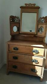 Pine chest of drawers with attached dresser mirror