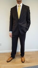 "Harewood Men's Classic Fit Navy Pinstripe Suit 40"" Chest Long"