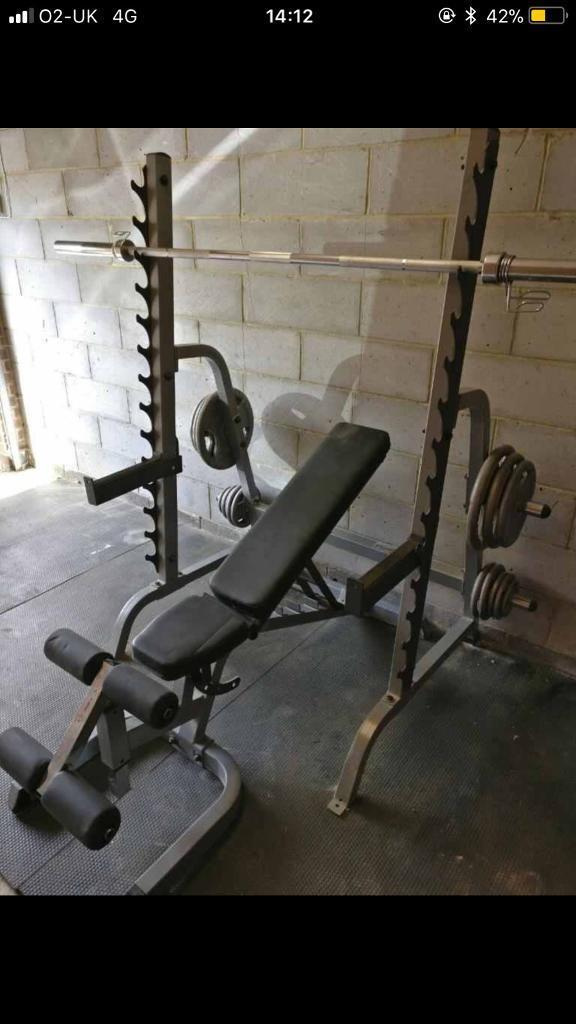 Olympic Barbell, Multi Press Rack And Bar Bell