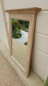 Very heavy limed oak framed mirror in great condition....Top quality! (D)