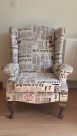 Newspaper Printed Fabric Re-Upholstered Wing Back Armchair LUSH