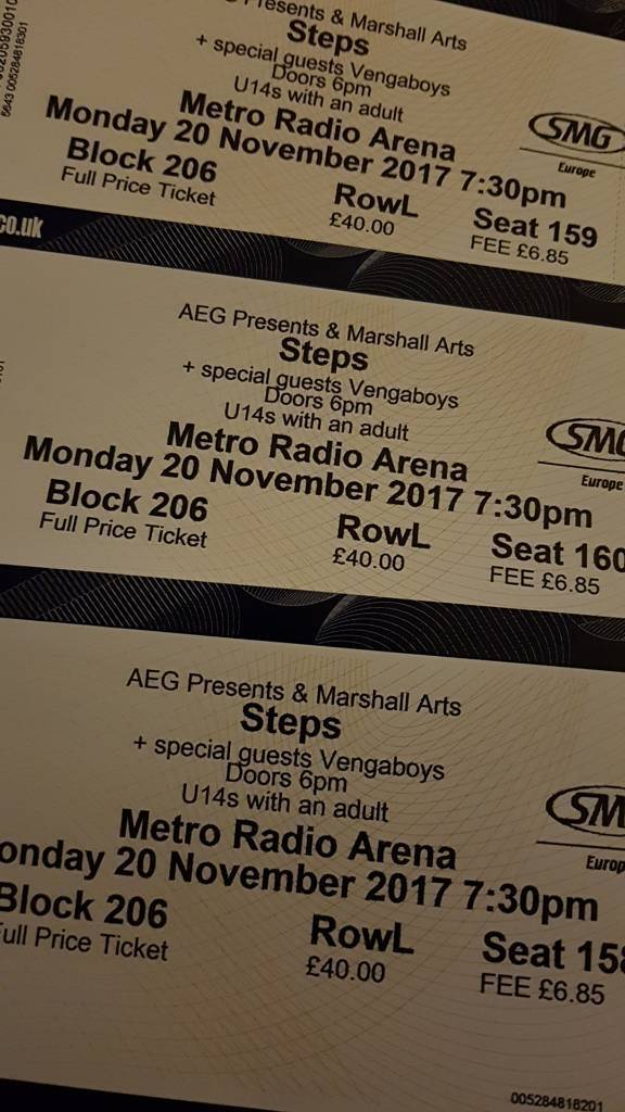 3 x Steps Concert tickets - 20.11.2017 newcastle