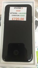 IPHONE X 64GB UNLOCKED CONDITION
