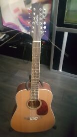 12 string acoustic guitar and stand