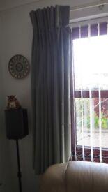 Pair of Triple Pinch Pleat Velvet Curtains (Green)