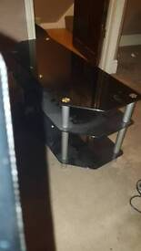 Black & Chrome Glass TV Stand