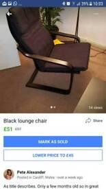 Black ikea chair. Few months old