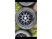 4X GENIUNE BBS ALLOYS VW GOLF VR6 MK3 Gloss Black Good Condition Rare Wheels 5X100