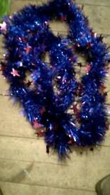 Blue & red & purple star tinsel