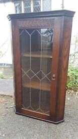 Vintage Newplan Oak Corner Cabinet/Display with Leaded Glazed Front Door & Shelving
