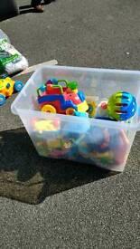 Box full of baby toys 0-1